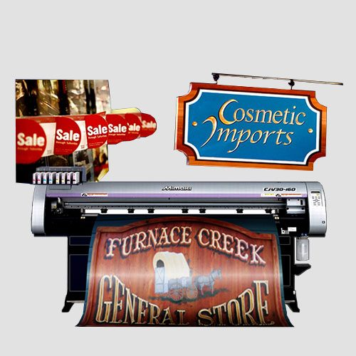 Image of sample prints of store signage, Pasadena Image Printing, Store Signage