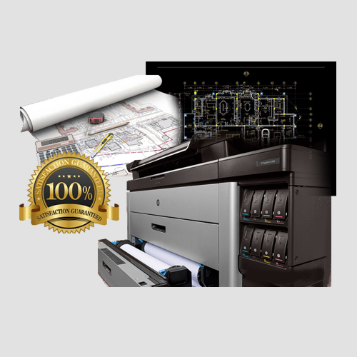 Image of sample prints of full color blueprints, Pasadena Image Printing, Full Color Blueprints