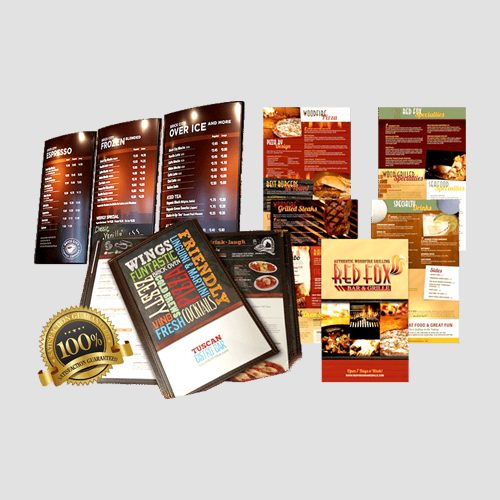 Image of Sample prints of Restaurant menus, Pasadena Image Printing, Restaurant menus